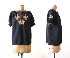 70s Blouse Peasant Top Embroidered Blouse Black by MILKTEETHS