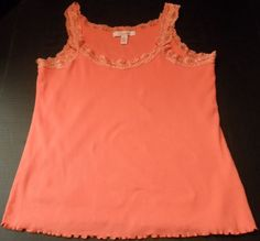 $8.98/ women's ribbed Tank Top Coral/peach colored features lace around neckline and arm holes, by Lena, ladies size Small ~casual fashion clothing ~~see over 20 categories of merchandise in my store. SHIPPING IS ALWAYS FREE in the USA; I do ship globally www.shellyssweetfinds.com