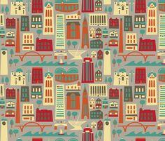 """""""My Fair Milwaukee"""" fabric design by Allison Beilke."""