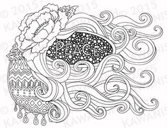 peace floral flowy adult coloring page gift wall art by Kawanish