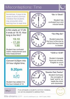 Misconceptions | Telling Time | Common mistakes when learning telling the time from LittleStreams on TeachersNotebook.com -  (2 pages)  - This is a simple poster on common misconceptions when learners learn how to tell time for the first time.