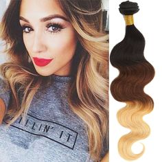 DE local Brazilian Echthaar Haarverlängerung New 1-4Bundles 14  Ombre Body Wave