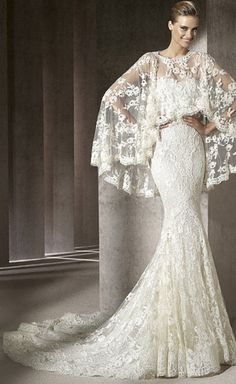 And God created woman......,.Elie Saab 2014 Collection white lace bridal gown