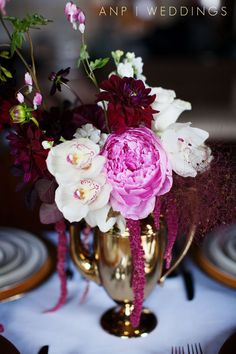 Gold, silver, burgundy and blush floral arrangement.  | Anne Nunn Photographers  |  Anastasia Ehlers Floral  |  Little Arrow Stationery & Paper Decor #wedding