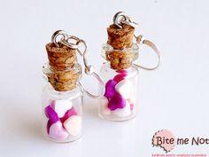 Heart Candies in Mini Glass Bottles Hook Earrings by BiteMeNot