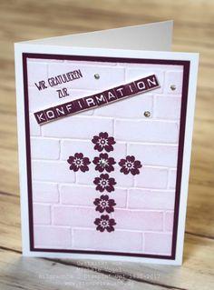 Konfirmationskarte für ein Mädchen Stampin' Up!  Blüten der Liebe  Grüße voller Sonnenschein  Labeler Alphabet  In Color Feige und Zarte Pflaume  Big Shot Prägeform Ziegel www.stempelrausch.de