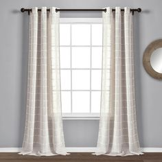 Farmhouse Textured Grommet Sheer Window Curtain Panels Beige Set - Lush Decor will love this new sheer curtain set which will let plenty of light into your home while still providing privacy from outsiders. The dotted stripe pattern add Sheer Curtain Panels, Grommet Curtains, Curtain Sets, Window Panels, Drapes Curtains, Target Curtains, Double Curtains, Sheer Drapes, Curtains Living