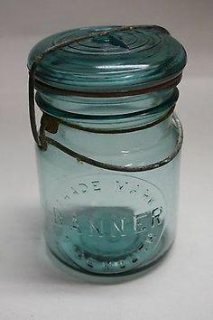 Gayner pt glass Banner Wide mouth fruit jar Salem NJ Canning Jar Lids, Rustic Shabby Chic, Old Bottles, Turquoise Glass, Silk Flower Arrangements, Antique Glass, The Hobbit, Silk Flowers, Mason Jars