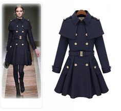 2015 Europe Style Fashion Autumn&Winter Women Tweed Coat Capelet Turn-Down Collar Double Breasted Long Style Woolen Outerwear
