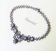 PDF for  Mist Beadwoven Necklace Beading Tutorial  - beaded seed bead jewelry - beadweaving beading pattern. $8.50, via Etsy.