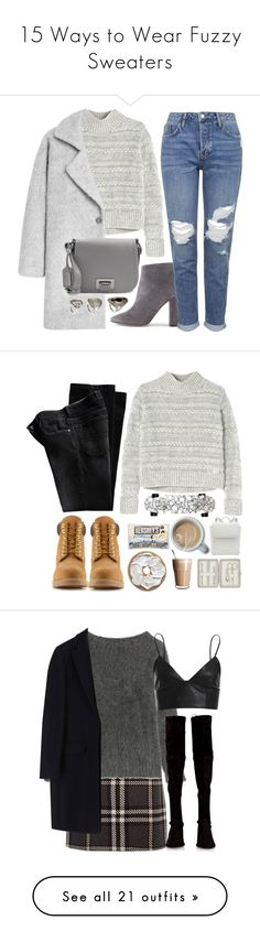 """""""15 Ways to Wear Fuzzy Sweaters"""" by polyvore-editorial ❤ liked on Polyvore featuring fuzzysweater, waystowear, J.Crew, Rebecca Taylor, Topshop, MANGO, Badgley Mischka, H&M, gray and Timberland"""