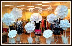 Window display, paper, flowers, retail.  www.OurHandsForHope.com