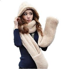 PS Women's Winter Warm Thick Plush Hooded Scarf Gloves Hat Shawl Snood Wraps Beige. More description on the website.