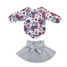Infant Baby Girl Long Sleeve Floral Romper Bowknot Dress Skirt Casual Toddler Baby Girl Clothes Set Outfit 0-24M (18-24 Months, Blue) #babygirllongsleevedress #babyskirts #toddlergirllongsleevedress https://presentbaby.com