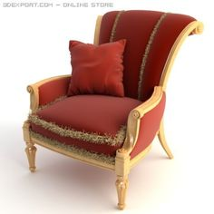 3D Model Red Armchair with Pillow c4d, obj, 3ds, fbx