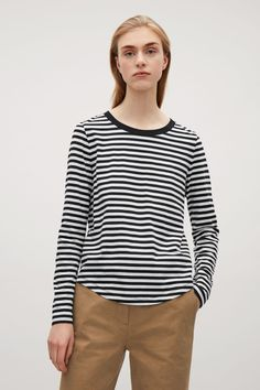 COS image 2 of Long-sleeve cotton t-shirt in Navy