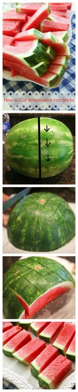 How to Cut Watermelon Sticks – Perfect For Little Hands Watermelon Sticks, Cut Watermelon, Watermelon Basket, Watermelon Healthy, Think Food, Love Food, Healthy Snacks, Healthy Eating, Healthy Recipes