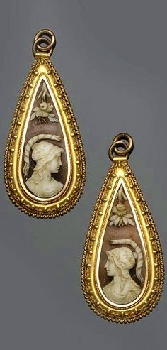 Two shell cameo pendant drops - Victorian jewellery.
