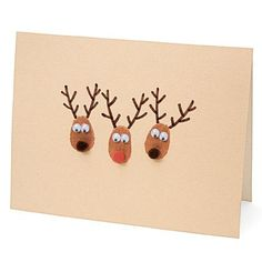 Thumb print reindeer card