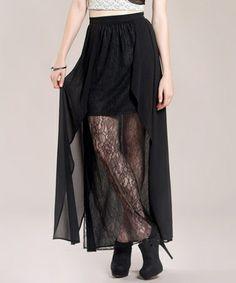 Black Sheer Lace Hi-Low Skirt #zulily #zulilyfinds
