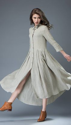 Gray Shirt Dress Semi-Fitted Buttoned Fit & Flare by YL1dress