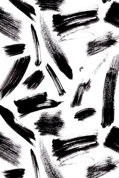 Black brush strokes by sylviaoh - Dark black brush strokes on fabric, wallpaper, and gift wrap. Abstract paint strokes in a bold painterly style.