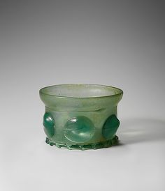 1480–1510; Beaker (Krautstrunk); German or Netherlandish; Free-blown green glass (Waldglas) with applied decoration; Dimensions: Overall: 2 1/8 x 3 1/4 in. (5.4 x 8.3 cm)