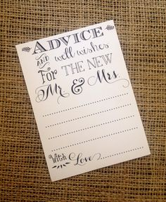 Wedding Advice And Well Wishes For Mr. & Mrs. 12 Note Cards / Guestbook - Bride…