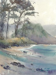 Home Decoration Ideas With Balloons Halfway to Hana, Maui, Hawaii III by Keiko Tanabe Watercolor ~ 15 x 11 inches x 29 cm) Art Aquarelle, Watercolor Landscape Paintings, Watercolor Pictures, Watercolor Projects, Watercolor Trees, Watercolor Artists, Seascape Paintings, Watercolour Painting, Landscape Art