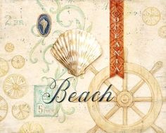 Beach Art Print with Words Illustration
