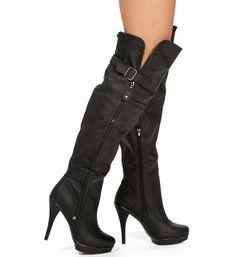 Black Knee High Heel Boot