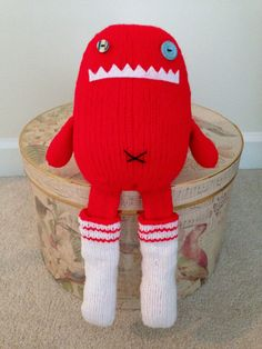 Handmade Monster Hand Knitted Monster Red Monster by CatDKnits