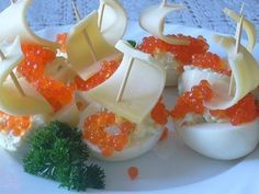 Eggs with caviar