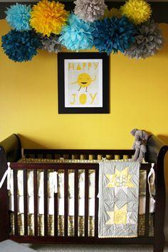 baby boy nursery skirtastop Love the cluster of pom poms!