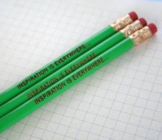 inspiration is everywhere green pencil set of three. get out and do something. overcome inertia. get inspired and stuff.. $4.00, via Etsy. #greenwithenvy #lifeinstyle