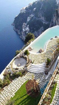 The Monastero Santa Rosa Hotel & Spa, once a monastery, sits on the edge of the Amalfi Coast, Italy. Love the Amalfi Coast - would love to spend more time there and this looks like the perfect place! Places Around The World, Oh The Places You'll Go, Places To Travel, Travel Destinations, Places To Visit, Around The Worlds, Dream Vacations, Vacation Spots, Vacation Trips