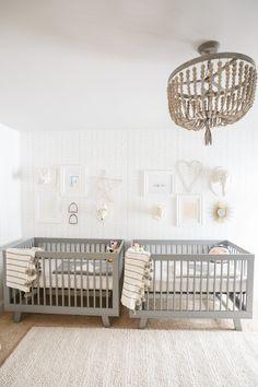 Bedroom, cribs for twins, twin cribs, twin nursery gender neutral, Small Twin Nursery, Twin Nursery Gender Neutral, Twin Baby Rooms, Nursery Twins, Nursery Modern, White Nursery, Twin Babies, Nursery Room, Elephant Nursery