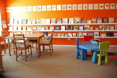 I've always wanted to paint a whole room bright orange.... maybe I can do our downstairs home school and play room like this? SO beautiful!