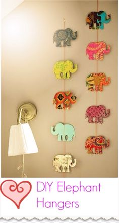 I don't know how you make the elephants (I think they are made out of wood) but you can just hand the elephants form a string and you just hang them in you room