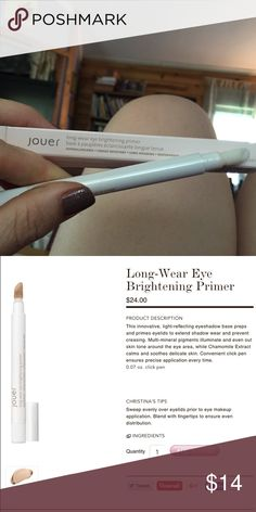 Jouer Long Wear Brightening Primer NIB Again, I just have too many. Got this around Christmas with a gift card. I've never dispensed any product. Because everyone knows makeup is my jam. Price is firm as its very fair. Bundle for further discounts. Jouer Makeup Eye Primer