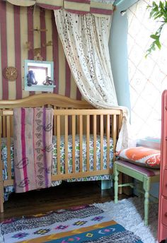 Boho Baby - NO crib, but Love the feel of the room with it's hodge-podge mash up of vintage furniture painted in vintage colours and all the textiles in lots of different weights and patterns.