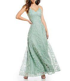 9d3af890a4fc7 Jodi Kristopher Scalloped Neckline Embroidered Long Dress Junior Dresses
