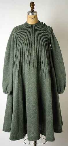 Mohair/wool-blend dress with pin-tucked neckline, by Geoffrey Beene, American, 1975-76.
