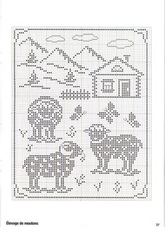 ru / Foto # 26 - Point de croix Collector Avril-Mai 2009 - natalytretyak Plus Filet Crochet, Crochet Sheep, Crochet Cross, Crochet Chart, Crochet Motif, Crochet Patterns, Loom Patterns, Sheep Cross Stitch, Cross Stitch Animals