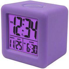 La Crosse Technology Soft Purple Cube LCD Alarm Clock (€21) ❤ liked on Polyvore featuring home, home decor, clocks, purple, battery digital clock, purple clocks, battery operated clock, purple alarm clock and cube clock