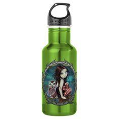 Cute Owl and Fairy Fantasy Art 18oz Water Bottle