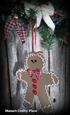Gingerbread man ornament tutorial...