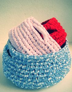set of three crochet baskets