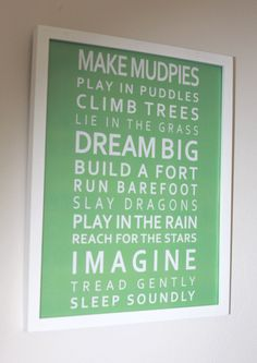Imagine Poster  for Childs Nursery- 11 x 14in or custom size if you require a different size. $20.00, via Etsy.