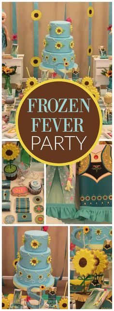 have to see this amazing Frozen Fever summer party! See more party ideas at ! Olaf Birthday Party, Frozen 3rd Birthday, Frozen Birthday Cake, 3rd Birthday Parties, Birthday Ideas, Frozen Fever Cake, Festa Frozen Fever, Frozen Theme, Frozen Party